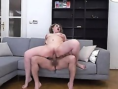 Plumper on his cock with her mature pussy