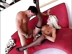 Bimbo wears stockings and corset and gets fucked