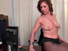 Granny office in pantyhose works her old pussy