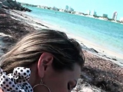 Latina in swim suit gets fucked in POV at the beach