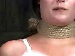 Roped girl begs for pain and humiliation from master BDSM