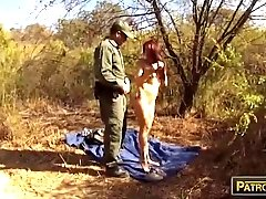 Amateur redhead babe gets pounded by border patrol officer