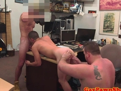 Sexy pawn shop straighty gets spit roasted