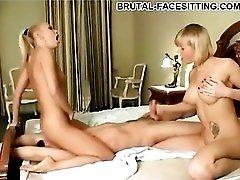 Erotic pussy worship with facesitting women