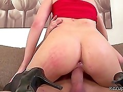 Slut in lace top stockings fucked from behind