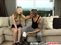 Teen babe in leash gives head and gets banged by horny dude