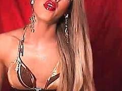 Asian Tranny Strokes her Huge Hard Cock