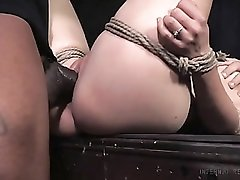 Skinny tied up girl fucked in her holes by big dicks
