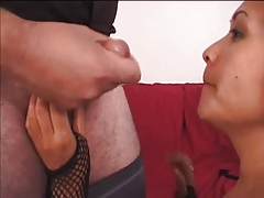 Guy gets a foot job from a cute asian in fishnets