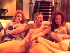 Horny Daddy With Enormous Prick Fondles Two Pussies