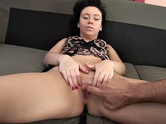 a thick facial for a sexy brunette in a wild pov