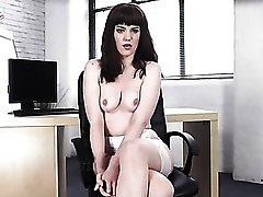 Secretary in an elegant pair of stockings talks dirty