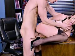 angela white has her boss fuck her over the desk