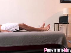 Blonde Girl blowjob and happy ending after massage
