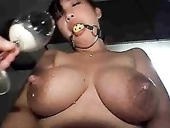Asian girl is lactating like crazy