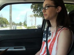 Stranded teen Tali Dava in glasses pussy fucked in a car