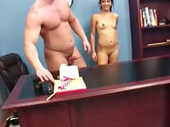 office sex for a slutty brunette