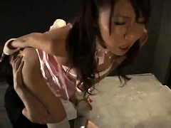 Buxom Japanese girl with big tits goes wild on a hard cock