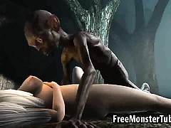 3D cartoon babe fucked in the woods by Gollum