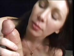Brunette licks and sucks balls during blowjob