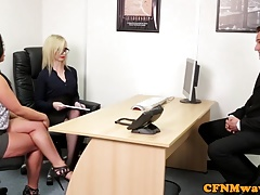Spex cfnm femdom facialized after cocksucking