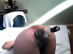 Anal fisting and XXL wine bottle fuck