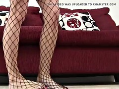 i want to rub my fishnet covered feet on your cock joi