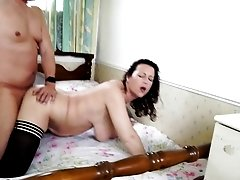 Chubby ass mature chick climbs on his dick and rides it