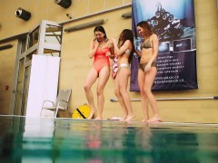 Hot girls undress in the pool