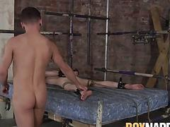 Sub twink gets his ass dommed and his cute face creamed