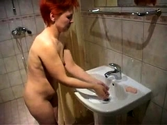 Slutty redhead wife has a group of boys plowing her snatch