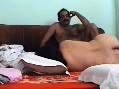 A young Indian couple fucks on camera
