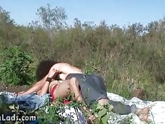 Twink friends getting to outdoor blowjob
