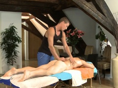 Twink is giving a delightful oral sex for gay masseur