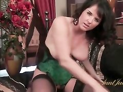 Sexy corset and stockings on glamorous mom