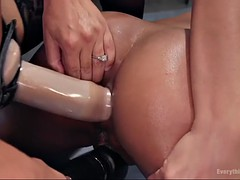 kira noir gets her ebony ass fisted and straponed by vicious francesca le
