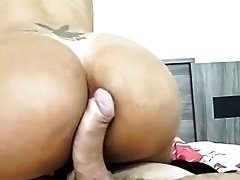 Big ass tranny with nice hooters rides rock solid boner