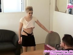 German blondie assistant mature dislike dressed in nylons and molten suspender