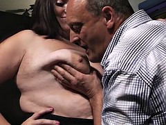 Bbw secretary rides his cock down