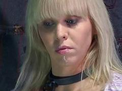 Sexy hot girl in bondage action receiving suffering BDSM porn