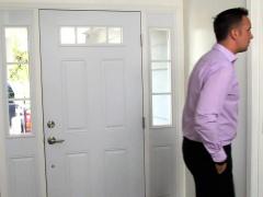 Housesitting teen invites a stranger for an anal pounding