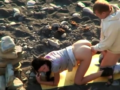 Sexy brunette with a perky ass gets fucked in the outdoors