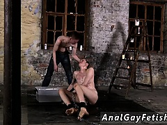Long hair naked gay man Chained to the warehouse floor and i