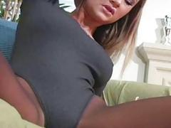 Solo girl fingers pussy throughout taut hose