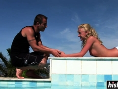 Flexible babe gets fucked hard outdoors