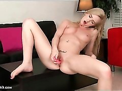 Teen with a little pink vibrator masturbates her cunt
