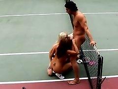 Saana and Sativa Rose threesome on tennis court