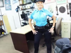 Sweet hottie officer sucking huge meaty hard pole