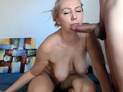 Sensual milf with big boobs sucks a cock and pleases herself