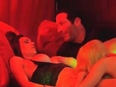 Swinger babes fucking husbands at group party